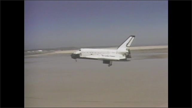 1980s: UNITED STATES: lightning seen from space. Space shuttle returns to Earth. Challenger shuttle lands on runway