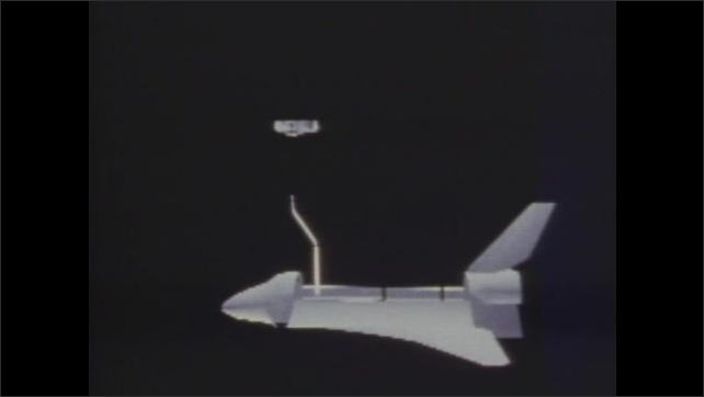 1980s: UNITED STATES: space shuttle simulation. Robotic arm grabs pay load
