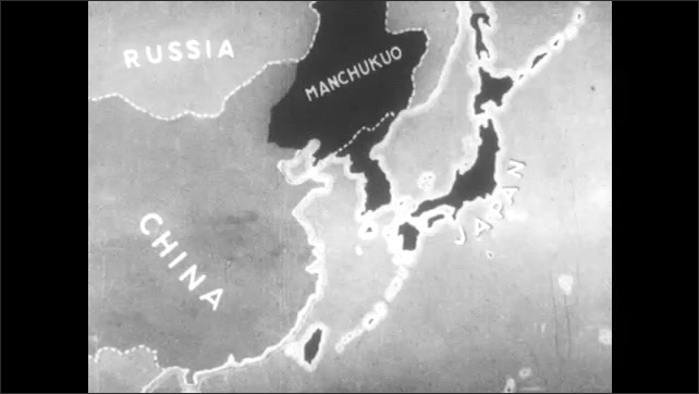 1930s: People walk and carry belongings on their shoulders attached to sticks. Soldiers march. Map shows Russia, China, Japan, Manchukuo. Political assembly.
