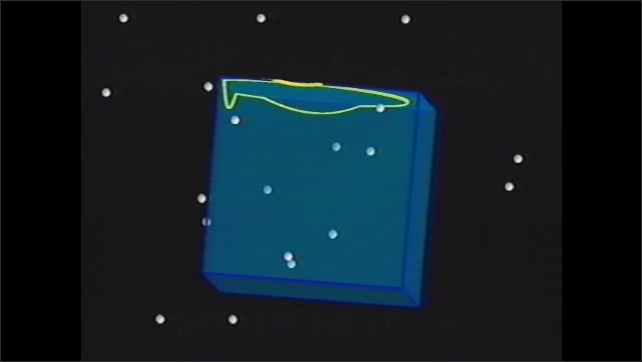 1990s: UNITED STATES: animation of neutrino detection. Purified water and flashes of light