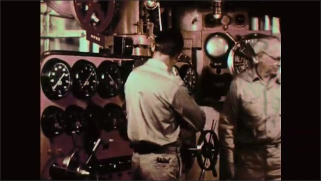 1950s: Men working at controls. Close up of gauge. Men talking, man exits, man looks at controls. Hand turns wheel. View of water from ship deck.