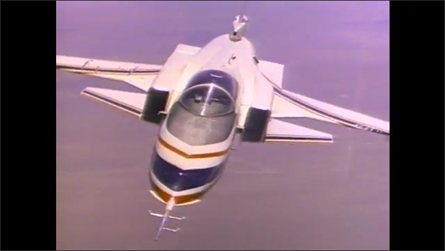 1990s: Aircraft with forward facing wings flies sideways and then shuffles from side to side in the air.