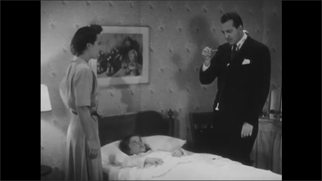 1940s: Doctor looks at watch and tests girl's pulse. Doctor removes thermometer and checks temperature. Girl and doctor speak. Doctor removes tongue depressor from bag.
