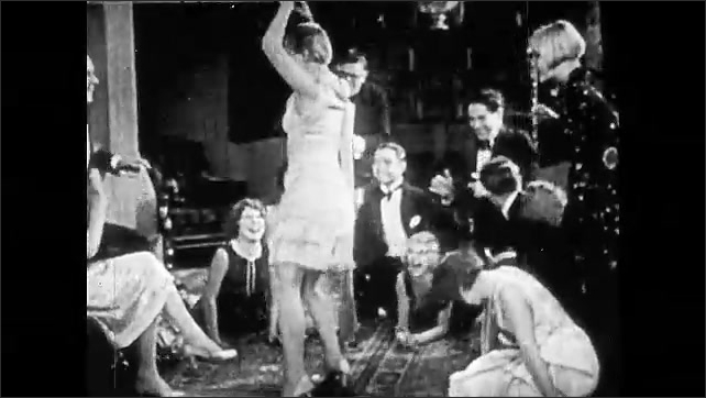 1920s: Woman sits in middle of wheel spinning on ground. Woman dances on beach surrounded by people. Woman dancing for people at party. Women dance in unison under balloons.