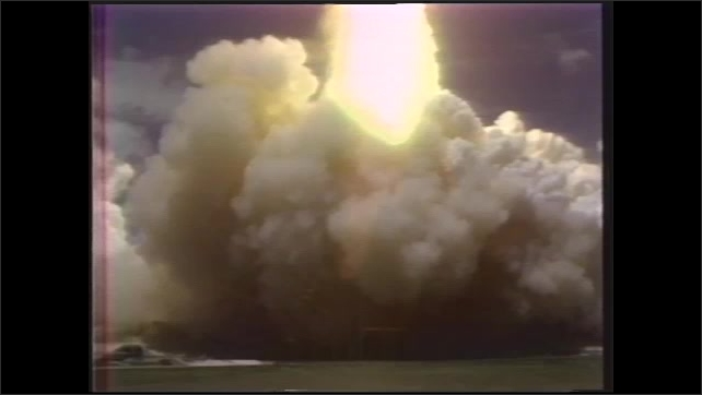 1990s: Space Shuttle launches from pad into space.