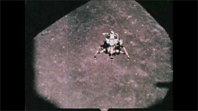 1960s: Spacecraft flies over the surface of the moon.