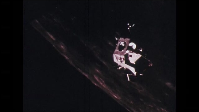 1970s: Pope speaks from balcony to crowd. Lunar module floats in space toward moon surface. News announcements of lunar mission broadcast across buildings.