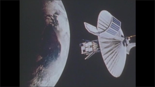 1970s: Satellite spins, unfolds, and orbits Earth.