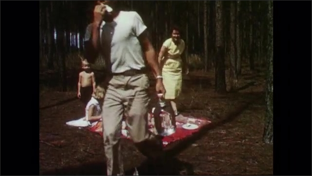 1950s: Women and children picnic in woods.  Man comes by and grabs sandwich from plate.  Man cuts log.
