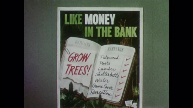 """1950s: Forest.  Poster reads """"LIKE MONEY IN THE BANK.  GROW TREES!"""""""