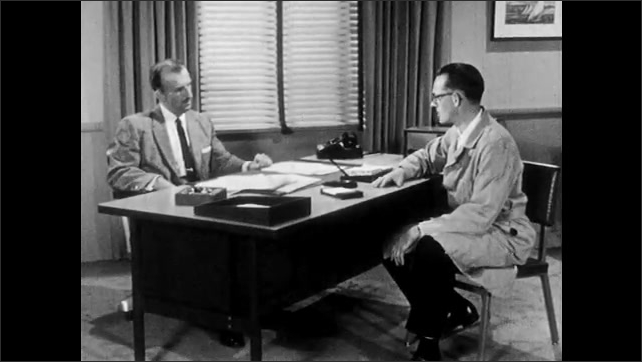 1950s: Lab, woman looks concerned, doubtful, raises eyebrows, sighs, pouts. Office, man points, talks angrily. Man behind desk raises hands to say stop, laughs, does not take him seriously.