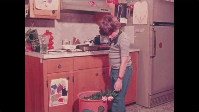 1970s: Boy touches dead roses on table. Woman throws roses in trash. Boy lifts dead rose from trash and examines it.