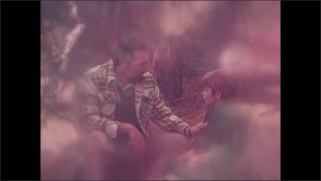 1970s: UNITED STATES: man talks to young boy outdoors. Nest in tree.