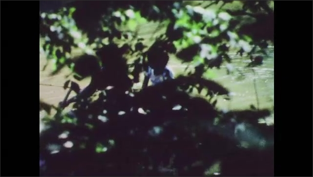 1960s: Plants.  Man and boy row boat.