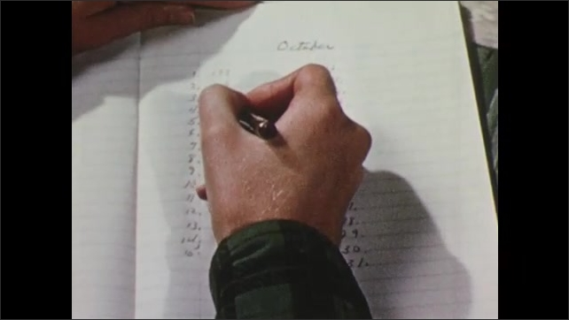 1950s: Charts on paper, hand turns page, writes on chart.