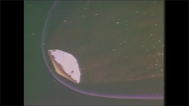 1970s: View of spacecraft landing system in space.