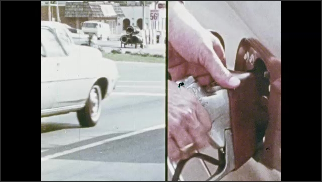 1970s: Traffic.  Stoplight.  Man closes hood of car.  Person gets gas.
