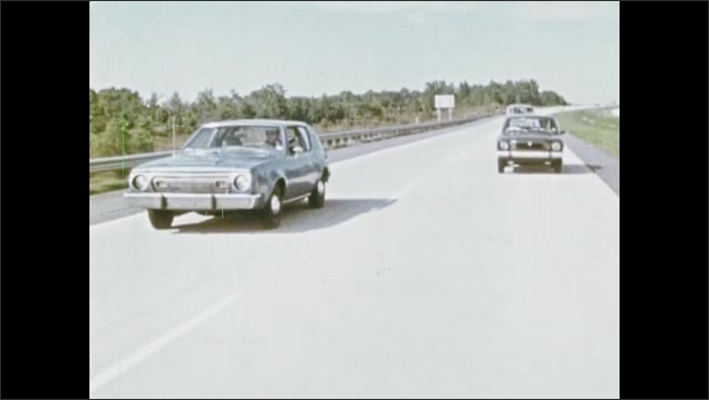1970s: Cars drive down highway.  Foot presses gas pedal.