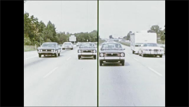 1970s: Cars drive on highway.
