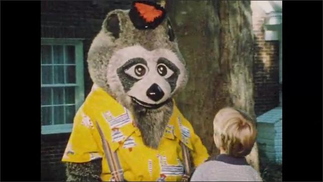 1970s: UNITED STATES: man talks to raccoon in garden. Car on street.