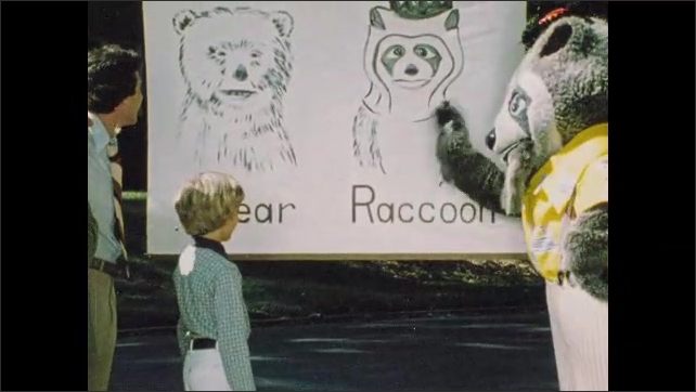 1970s: UNITED STATES: boy mimes baseball swing. Raccoon shows boy picture of bear. Raccoon plays with bat