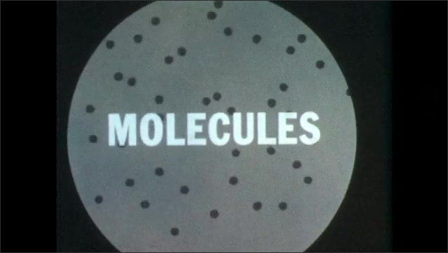 """1950s: Animation.  Dots move around inside of circle.  Text reads """"MOLECULES."""""""