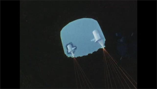 1960s: UNITED STATES: cartoon of sun and earth. Animation of sun. Animation of data collection from space. Satellite near sun