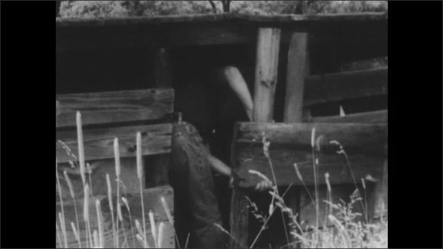 1950s: UNITED STATES: boy throws stones in pond. Boy walks through field. Boy climbs into wooden hut. Steel television tower.