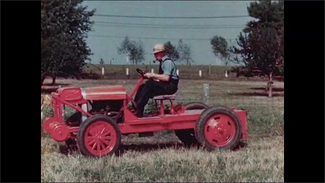 1940s: UNITED STATES: man climbs on tractor in field. Run-around in field. Close up of wheels on run-around.