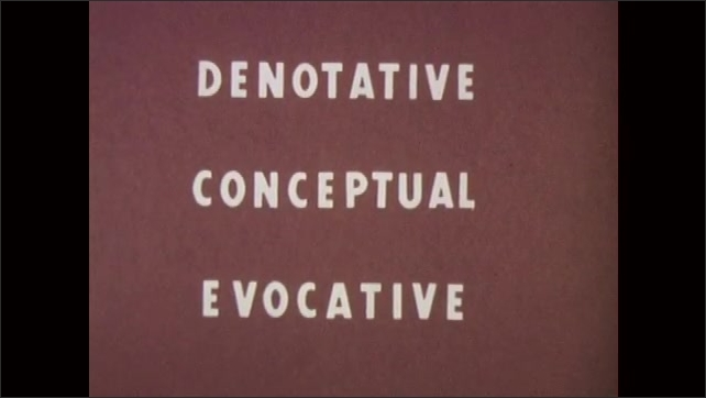 1960s: UNITED STATES: Denotative, Conceptual, Evocative meaning title.