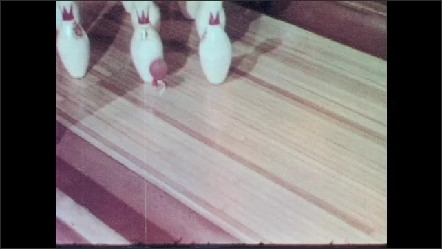 1960s: Balloon and disc float down alley. Balloon slowly deflates as disc speeds down bowling alley. Disc bumps into bowling pins and stops.