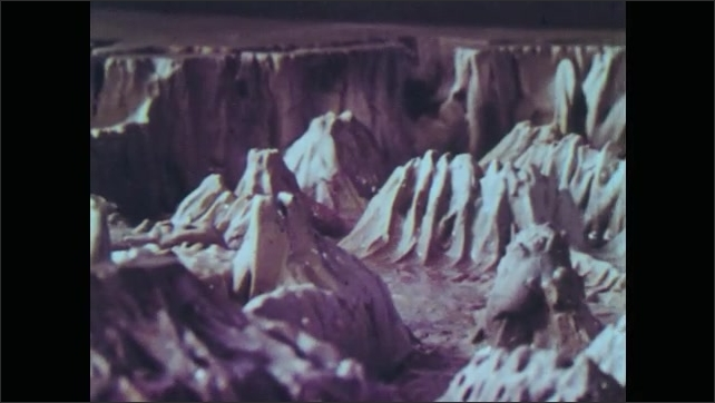 1960s: model of undersea mountains and volcanoes in Pacific Ocean, model of undersea trenches in Pacific Ocean