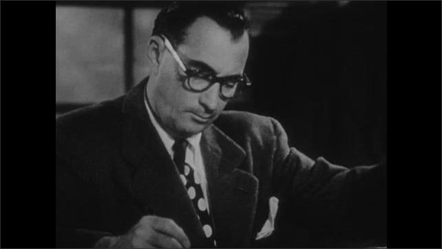 1950s: Man driving forklift. Man looking at files. Woman sorting pencils. Man writing at desk. Man turning knob. Man at furnace. Woman working at machine. Close up of woman.