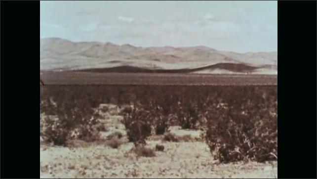 1960s: UNITED STATES: rocky landscape and desert. View across landscape. Flat land with good soil. Soil on shovel.