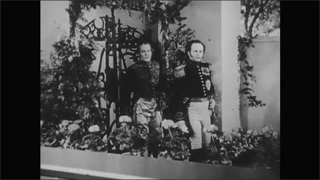 1950s: Austrian nobles and royalty in court, Austrian military parades and formations, two men talking on balcony