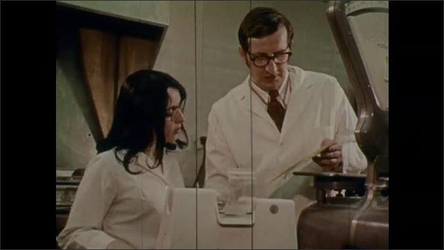 1970s: UNITED STATES: lady in military uniform. Technician with microscope. Engineers and scientists at work. X-rays of the human boss. Chemist in lab.