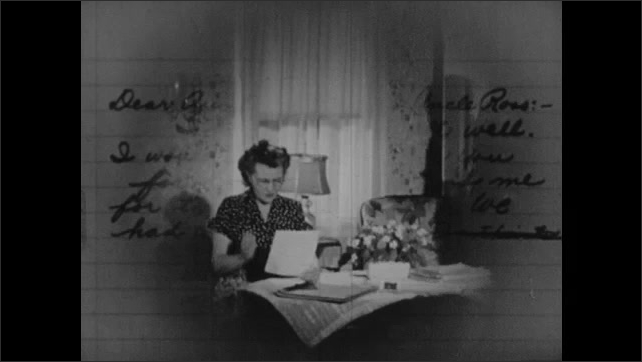 1950s: UNITED STATES: Boy shakes head. Boy reads letter. Couple talk at table