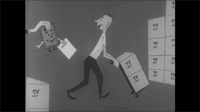 1960s: Cartoon hand and arm holds money and order paper, reaches out of store to building. Cartoon hand and money reach towards man with boxes of TV sets on dolly. Boxes of TV sets disappear.
