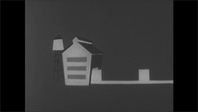 1960s: Cartoon money sleeps in savings book. Boxes moves out of building on conveyor belt. Animation of arrows with money on them go in a circle, hand drops dollar signs onto arrows.