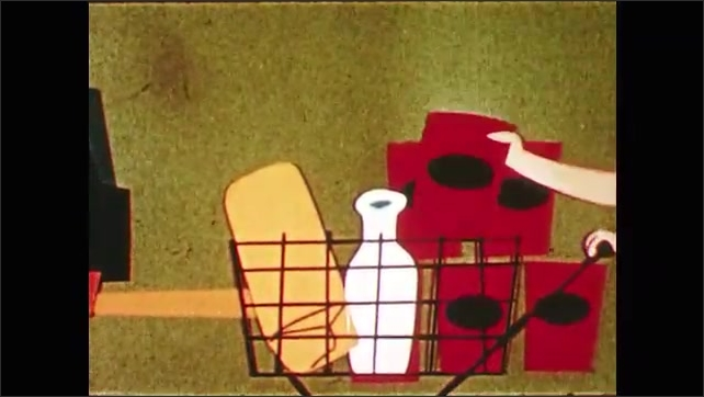 1950s: Animated girl places loaf of bread in cart. Animated girl places milk and canned good in shopping cart. Whirling light appears in shopping cart. Food transforms into wheat, spinach and a cow.