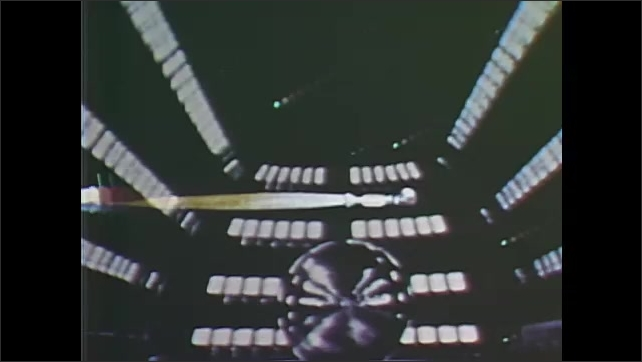1960s: UNITED STATES: Echo One communications satellite experiment. Reflection of signals. Animation of rocket and payload position
