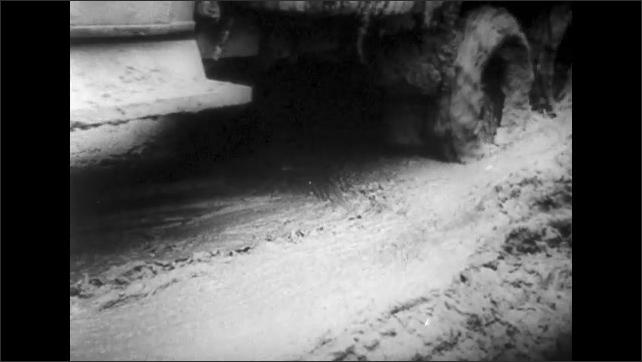 ITALY 1943: Trucks Drive Through Mud from Seasonal Rains, San Pietro, Italy