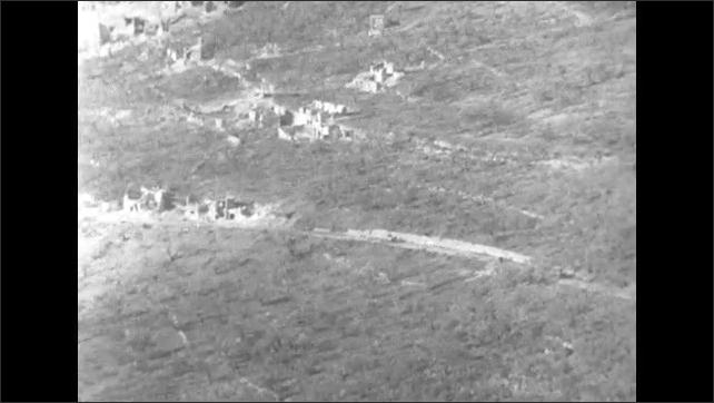 ITALY 1943: Sixteen Tanks Drive Down Steep Mountain Road into the Town of San Pietro