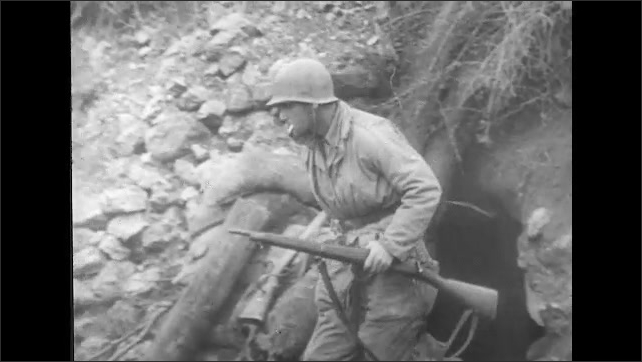 ITALY 1943: Soldier with Cigarette in His Mouth, Checks Inside Building for Enemy Soldiers