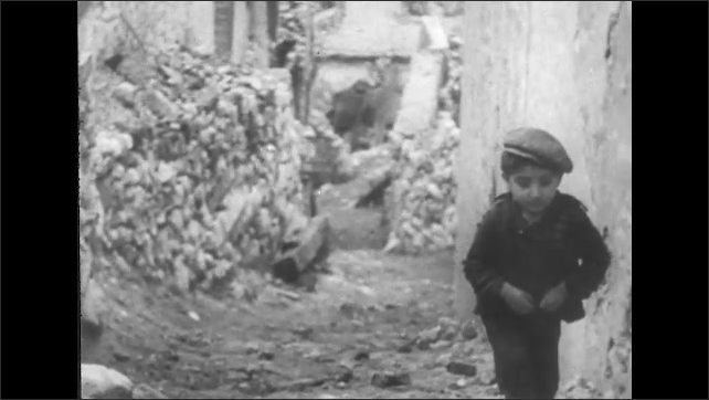 ITALY 1943: Girl Carrying Baby in San Pietro, Italy After the War