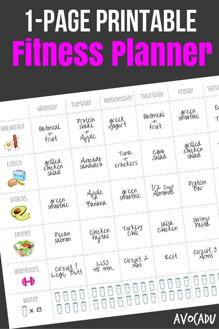 1-Page Printable Fitness Planner | Avocadu.com