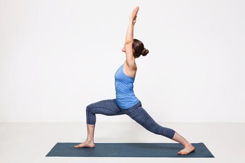 Warrior I Beginner Yoga Pose for a morning yoga workout