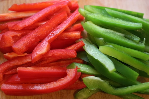 low carb sliced bell peppers