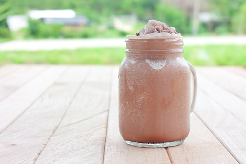 cacao protein shake with iced coffee for weight loss
