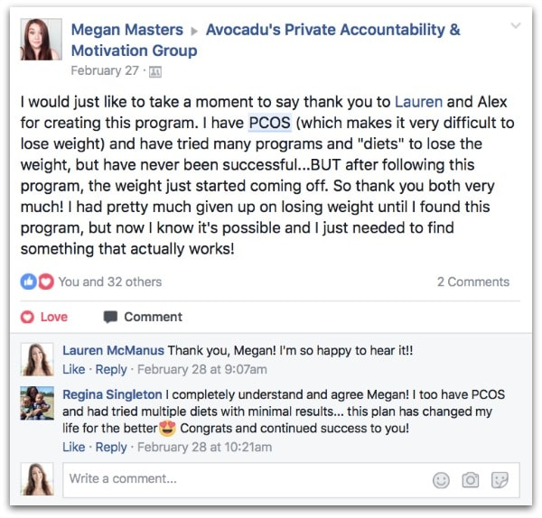 21-Day Challenge testimonial for how to lose weight with PCOS